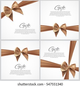 Gift Card with Ribbon and Bow Set. Vector illustration EPS10