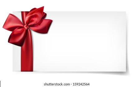 Gift card with ribbon and satin red bow. Vector illustration.