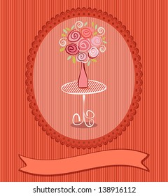 Gift card with roses flowers. Vector eps10 wedding, birthday or valentine post card illustration with copy space for text. Raster file copy included in portfolio