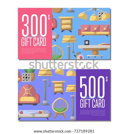 Gift Card Set Living Room Furniture Stock Vector Royalty Free