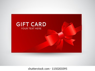 Gift Card Template with Bow and Ribbon Vector Illustration EPS10
