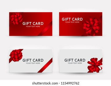 Gift Card Template Collection Set with Bow and Ribbon Vector Illustration EPS10