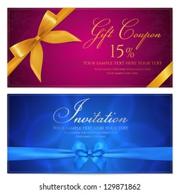 Gift card template with corrugated texture and Gift red bow (ribbons). Background design usable for gift voucher, coupon, invitation, certificate, diploma, ticket etc. Vector in blue, maroon colors