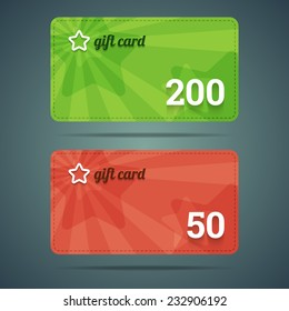 Gift card template with star and number. Vector illustration in EPS10.