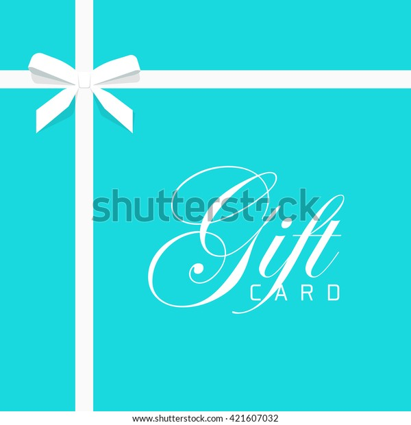 Gift card vector illustration on blue background, luxury thin gift bow with white ribbon and space frame for text, gift wrapping template for banner, poster or certificate voucher design