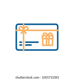 Gift card vector thin line icon. Voucher, coupon, present illustration