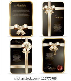 Gift card with white and gold ribbon, background