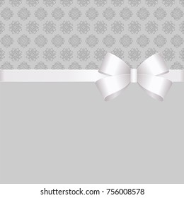 Gift Card White  Ribbon And A Bow  on grey background.  Gift Voucher Template with  place for text.  Invitation - vector image.