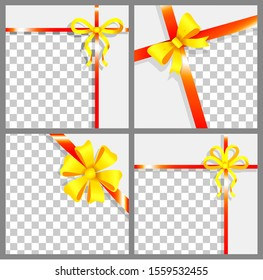 Gift cards and luxury wide gift wrap with red ribbon, tape and golden bow and space for text. Packing box ribbon present for party or Christmas, birthday, postcard with best wishes wrapping template