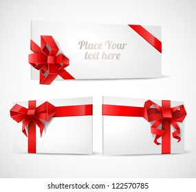 Gift cards with origami bows set - vector illustration.