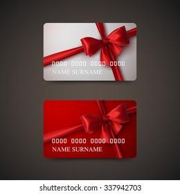 Gift Cards With Red Bow And Ribbon. Vector Illustration. Gift Or Credit Card Design Template