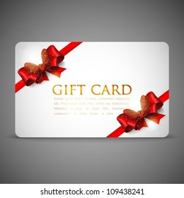 gift cards with red bows and ribbons