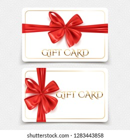 Gift cards template with decorative red ribbon bow, vector illustration