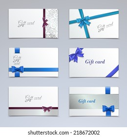 Gift cards vouchers elegant paper ribbon certificates template set isolated vector illustration