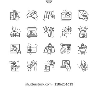 Gift Cards Well-crafted Pixel Perfect Vector Thin Line Icons 30 2x Grid for Web Graphics and Apps. Simple Minimal Pictogram