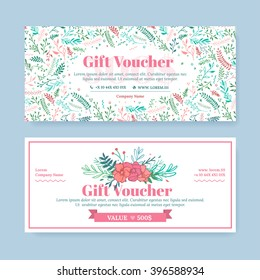 Gift certificate with delicate painted flowers in boho style. Business floral card template. The concept of boutique, jewelry, flower shop, beauty salon, spa, fashion, flyer, banner design.