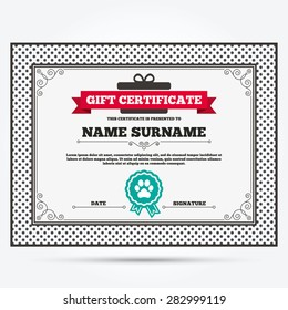 Gift certificate. Dog paw sign icon. Pets symbol. Template with vintage patterns. Vector