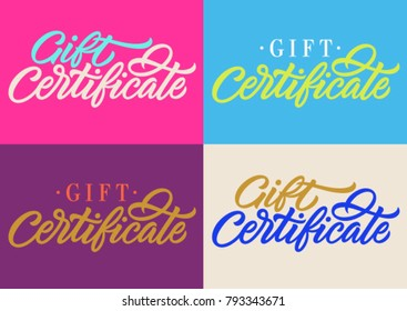gift certificate, handwritten inscription, calligraphy, lettering, set of cards