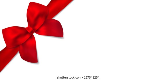 Gift certificate with isolated diagonally red bow (ribbons). Design  for voucher, coupon, invitation, Christmas card for any celebrations (birthday, mothers day). Vector on white background