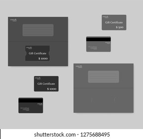 Gift certificate magnetic stripe plastic card with half fold booklet holder. Vector template.