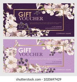 Gift certificate for a spa, beauty salon, shops, cosmetics and restaurants. Gift voucher. Discount card. Flowering branches on a lilac and violet background. Vector illustration