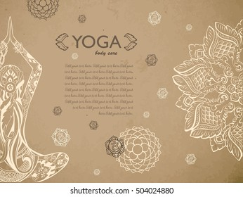 Gift certificate template with mandala ornament, crown, sacral chakras and silhouette of woman siting in lotus pose. Concept for yoga studio, beauty salon, spa. Vector illustration.