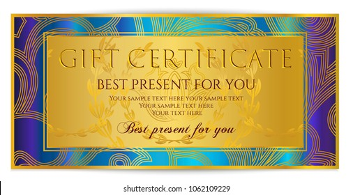 Gift certificate template (printable Gift Voucher layout, Coupon template). Editable golden Gift card design example with colorful background pattern. Useful for restaurant / massage gift certificate