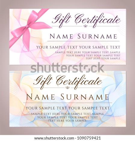 gift certificate template printable gift voucher stock vector