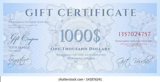 Gift certificate, Voucher, Coupon template (layout) with guilloche pattern (watermark), border. Background for banknote, money design, currency, note, check, ticket, cheque, reward. Blue color. Vector
