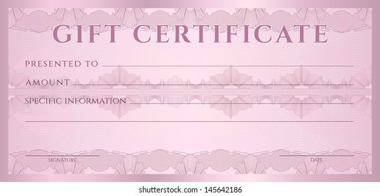 Gift certificate, Voucher, Coupon template (layout) with guilloche pattern (watermarks), border. Background for banknote, money design, currency, note, check (cheque), ticket, reward.  Vector