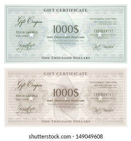 Gift certificate, Voucher, Coupon template with guilloche pattern (watermark), border. Background for banknote, money design, currency, note, check (cheque), ticket, reward. Vintage color. Vector