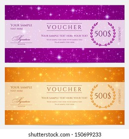 Gift certificate, Voucher, Coupon template with sparkling, twinkling stars. Night sky background design for invitation, banner, ticket. Vector in orange, blue violet