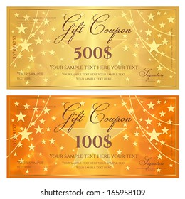 Gift certificate, Voucher, Coupon template with stars pattern. Holiday gold and orange background for money design, currency, note, check (cheque), ticket, reward. Vector