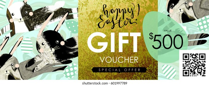 Gift certificate voucher coupon template animal stock vector gift certificate voucher coupon template with animal fur textured hare rabbit negle Images