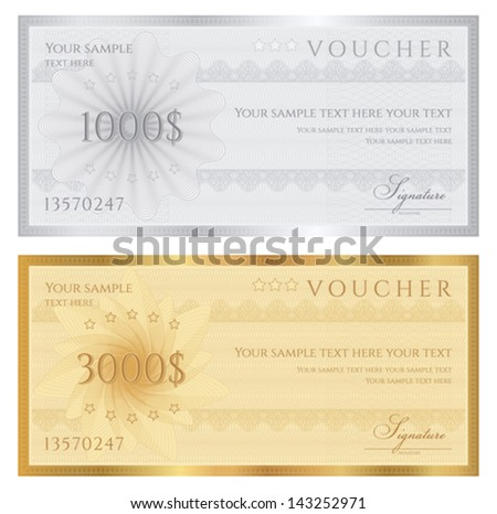Gift Certificate Voucher Coupon Template Guilloche Stock Vector