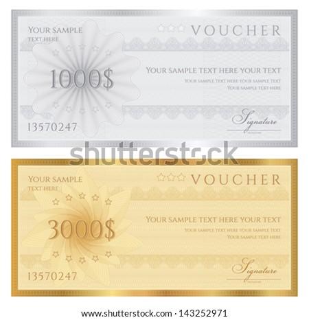 gift certificate voucher coupon template guilloche stock vector