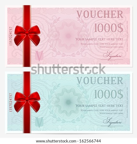 Gift Certificate Voucher Coupon Template Colorful Stock Vector