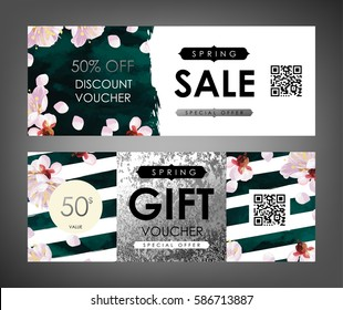 Gift certificate, Voucher, Coupon templates with plum tree flowers, emerald velvet and shabby white gold texture. Spring inspiration vector.