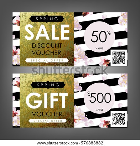 gift certificate voucher coupon templates with plum tree flowers stripe pattern and shabby