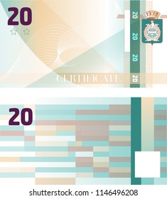 Gift certificate Voucher template 20 with guilloche pattern watermarks and border. Background usable for coupon, banknote, money design, currency, note, check etc. Vector in turquoise and beige color