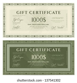 Gift certificate / Voucher template with guilloche pattern (watermarks) and border. Background usable for coupon, banknote, money design, currency, note, check etc. Vector in green and vintage colors