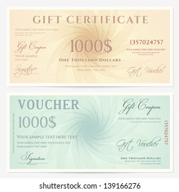 Gift certificate / Voucher template with guilloche pattern (watermarks) and border. Background for coupon, banknote, money design, currency, note, check etc.  Vector in vintage colors