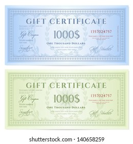 Gift certificate (Voucher) template with guilloche pattern (watermarks) and border. Background design for coupon, banknote, money design, currency, note, ticket, check etc. Colors (green,blue)