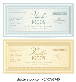 Gift certificate / Voucher template with guilloche pattern (watermarks) and border. Background for coupon, banknote, money design, currency, note, check, ticket etc.  Vector in vintage colors