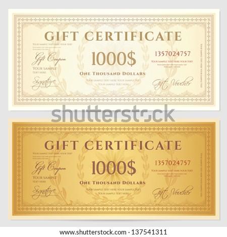 gift certificate voucher template guilloche pattern のベクター画像