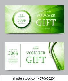 Gift company voucher template on two and five hundred dollars with white background and green wavy swirl bright pattern. Vector illustration