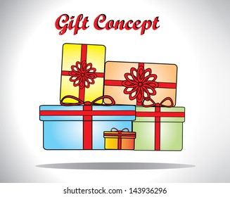Gift Concept Illustration using colorful gift boxes of different shapes and sizes