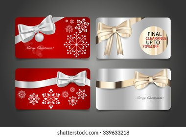 Gift coupon with gift bow and ribbon. Vector illustration.