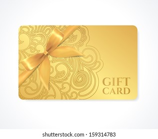 Gift coupon, gift card (discount card, business card) with floral (scroll, swirl) gold swirl pattern (tracery), bow (ribbon). Holiday background design for invitation, ticket. Vector