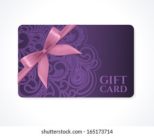 Gift coupon, gift card (discount card, business card) with floral (scroll, swirl) violet swirl pattern (tracery), bow (ribbon). Holiday background design for invitation, ticket. Vector